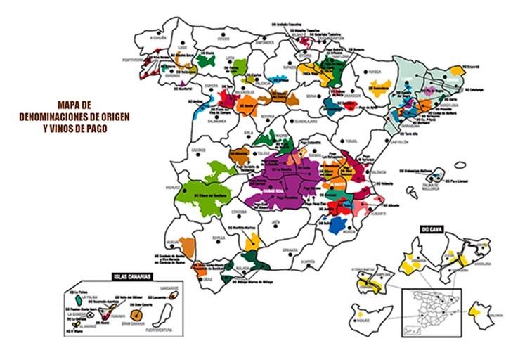 mapa denominaciones de origen España