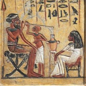 Pintura antigua egipcia sobre la cerveza
